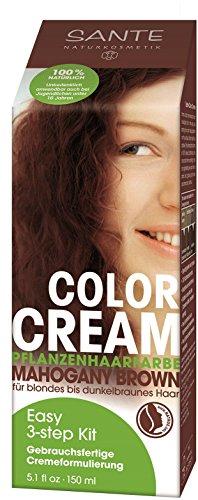 SANTE Naturkosmetik Color Cream Pflanzenfarbe Mahogany Brown, Intensives Rotbraun, Gebrauchsfertige Cremeformulierung, 150ml