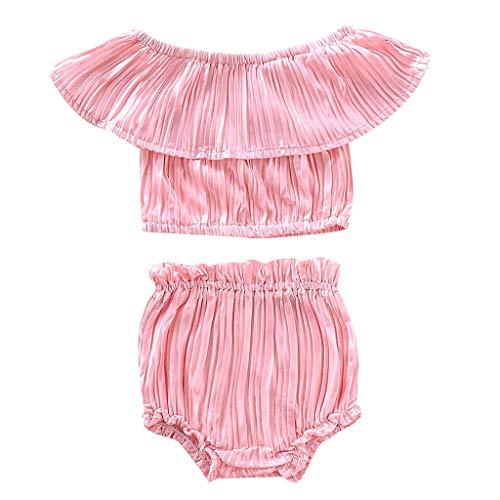 mer Kleinkind Kind Baby Mädchen Rüschen Gestreift Schulterfrei Oberteile PP Kurze Hose Outfits Sommer 2 Stücke Outfits(Rosa,6-12 Monate/80) ()