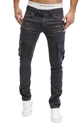 Merish Pantaloni Uomo Jeans, Jeans 5 Pocket stile, con la chiusura lampo sulla tasca, Sacche da gamba, altamente dettagliato modello di elaborazione, tasche cargo J2055 Antracite W34
