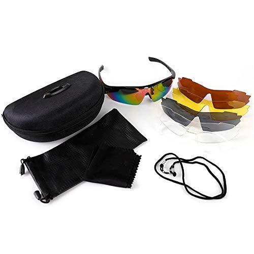 ANSKT Outdoorreiten fünfteilig mit 5 Wechselgläsern, Sportbrille voller UV400-Schutz @ fünfteilig