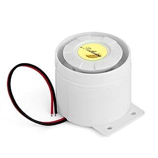 Taikuwu 12 V 120dB Wired Mini Sirene für Home Office Shop Garage  Alarmanlage Kit Horn Sirene(Weiß)