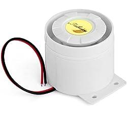 taikuwu Mini sirena con cable para el escritorio de electrodoméstico Boutique garaje sistema de alarma de seguridad Kit GSM sistema de seguridad de alarma cuerno sirena 120dB 12V/13cm (color blanco)