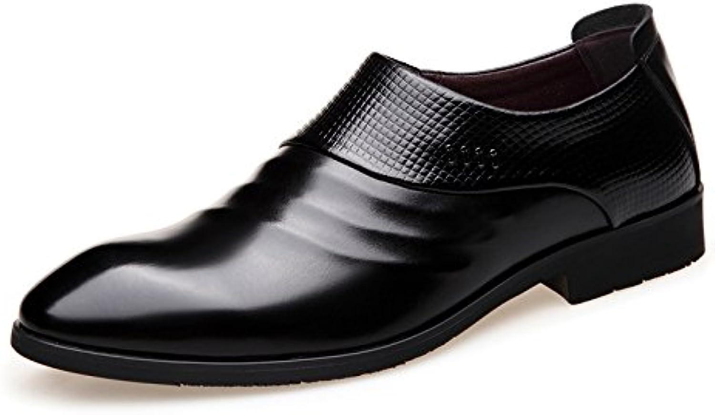 NBWE Zapatos de Vestir de Hombre de Negocios Zapatos de Cuero Zapatos de Hombre de Punta Ancha Extra Grande -