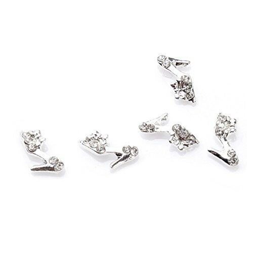 5Pcs Kit Décoration Nail Art Escrapin 3D Manucure Incrusté de Cristal Bijoux DIY Ongle Argent RAIN QUEEN