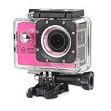Kcanamgal Bewegungskamera 4K, Wifi-Kamera 96 Fuß-Unterwasserwasserdichter Nocken 2 Zoll LCD-Bildschirm 170 Grad Breiter Betrachtungswinkel,Pink