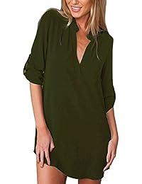 37182347bb651 ISSHE Blusas de Vestir Manga Larga Cuello EN V Blusa Gasa Fiesta Camisas  Mujer Camisetas Largas