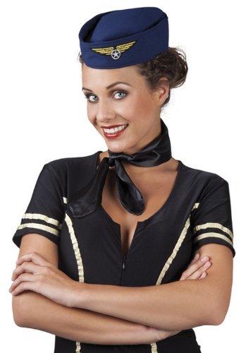 Stewardess Häubchen Mütze dunkelblau-gold Einheitsgröße