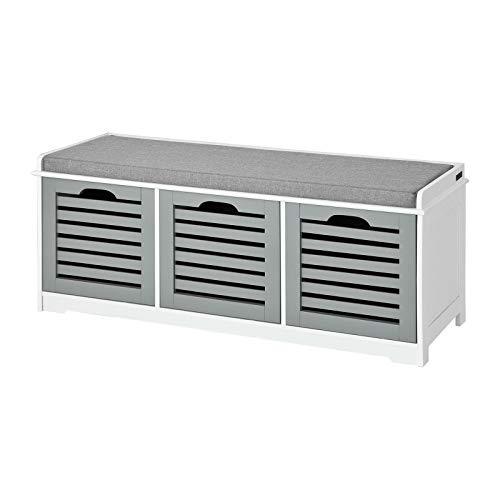 SoBuy® FSR23-HG Banc de Rangement avec Coussin rembourré et 3 Cubes, Meuble d