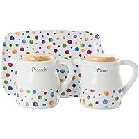La Cija Dots - Graseras de Porcelana con Bandeja, Color Blanco