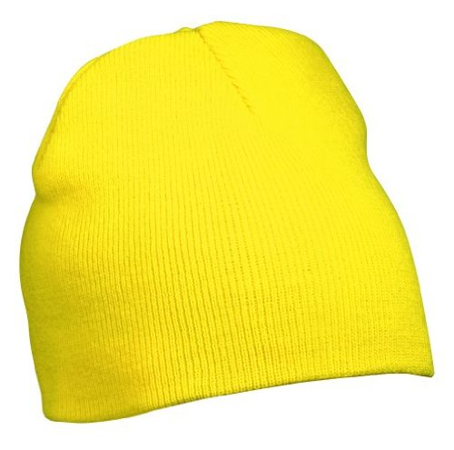 Myrtle Beach Strick Beanie Nr.1 MB7580, Farbe: gelb (Minion Kostüm Für Kind)