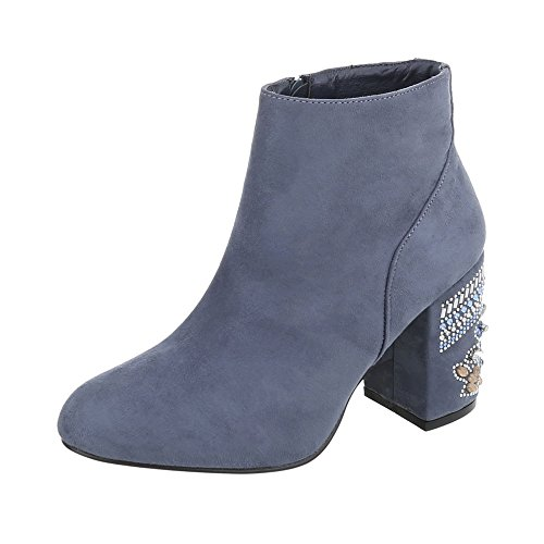 Ital-Design High Heel Stiefeletten Damen-Schuhe High Heel Stiefeletten Pump High Heels Reißverschluss Stiefeletten Blau, Gr 40, V-1-1-