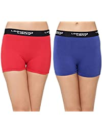 LEADING LADY Women's Solid Boy Shorts (Pack of 2)