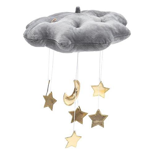 WINOMO Baby Decken Mobile Hängende Wolken Dekorationen Mond und Sterne Garland für Kinderzimmer Baby Dusche (Grau)