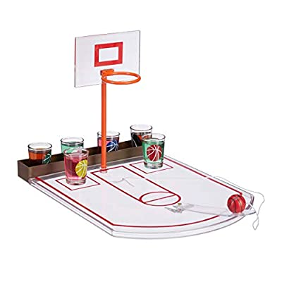 Relaxdays Jeu de Basket-Ball 6 Verres à Shot Panier + Ballon Transparent 22,5 x 24 x 44 cm