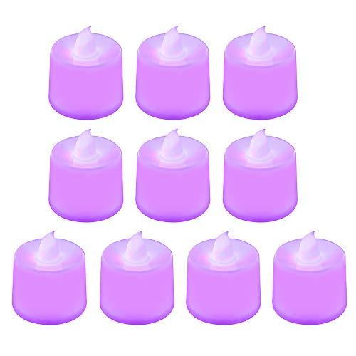 lti Farbiges Leuchtendes LED-Kerzen-Licht, flammenloses Polypropylen-Plastik LED-Licht für wetterfestes im Freien und Innen (Purple) ()