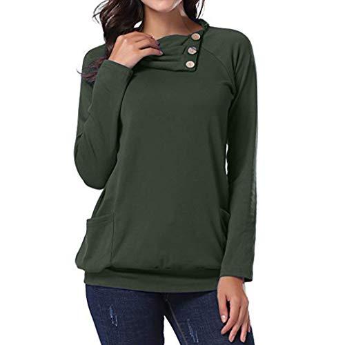 MRULIC Sweatshirts Damen Langarmshirt Rundhals Streifen Winter Pullover Einfarbig Tops Tunika Bluse T-Shirt Sweater(C-Grün,EU-40/CN-XL) (Spielsachen 11-jährigen Mädchen Für)