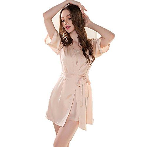 Rainbow Fox Femmes vêtement de nuit sexy vêtements de nuit Creux conception Soie Satin Chemise de nuit pour Dame Champange