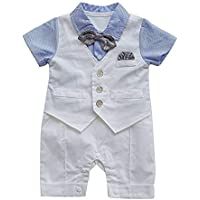 Zarupeng Neugeborenes Baby Jungen Gentleman Kurzarm Weste Krawatte Smoking Jumpsuit Overall Strampler Outfits Zweiteiler