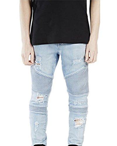 Herren Jeans Hose Slim Fit Distressed Destroyed Zerrissen Denim Jeanshosen