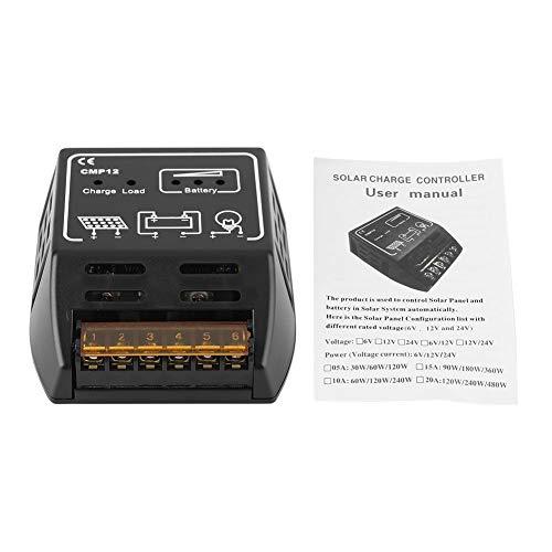 Especificación:  Material: PS  De color negro  Voltaje del sistema: DC12V  Autoconsumo: 10MA.  Corriente de carga nominal: 10A  Corriente nominal de carga: 10A  Protección de sobrecarga: 14.4V / 28.8V  Protección contra sobrecargas: 10.8V / 21.6V  Pr...