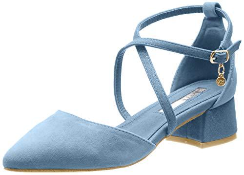 XTI 32094, Zapatos de tacón con Punta Cerrada para Mujer, Azul Jeans, 40 EU