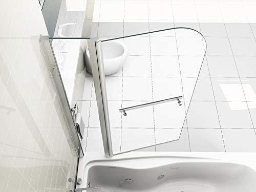 HNNHOME 180° schwenkbare Doppel-Duschwand, mit Handtuchhalter, 6mm Dickes Glas.