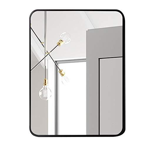 ZCM-MIRROR Wandspiegel, Badezimmerspiegel, Art-Deco-Spiegel, Kosmetikspiegel, rechteckige, abgerundete Ecken, gebürstete Metallkante, explosionsgeschützter HD-Silberspiegel, schwarz,50x70CM - Schwarze Abgerundete Metall-rahmen