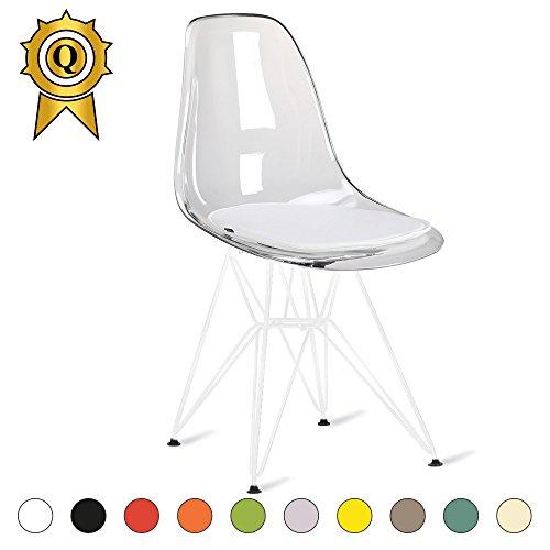 MOBISTYL Promo 1 x Chaise Design Inspiration Eiffel Pieds Acier Vernis Blanc Assise Transparent DSRW-TC-1