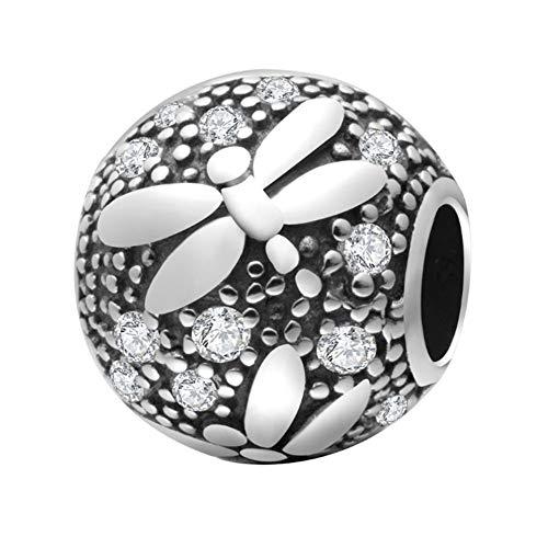 Libellen-Charm aus 925er Sterlingsilber, Glücksbringer für Pandora-Charm-Armband