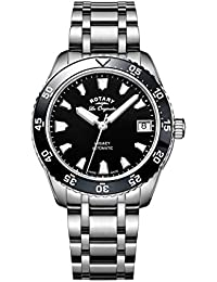 Rotary Women's Automatic Watch with Black Dial Analogue Display and Silver Stainless Steel Bracelet LB90168/04