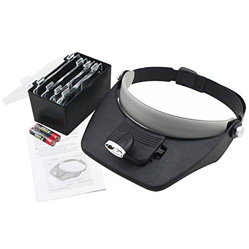 Hengda Profi LED Lupenbrille stirnlupe Stirnlupe Kopflupe lupe mit licht 4 Vergrößerungs Brillenlupe Mit LED Licht 1,5V AAA Batterie