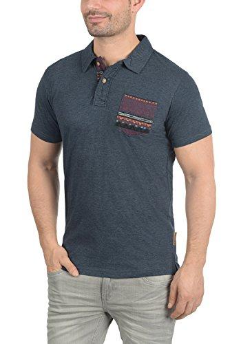 INDICODE Alastair Herren Poloshirt Brusttasche mit Inkaprint Navy