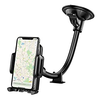 Car Phone Mount, Mpow Windscreen Car Phone Holder Grip Flex Universal Windshield Cars Cradle with Extra Dashboard Base Long Arm Holder for iPhone Xs/X/10 8 7/7 Plus 6s/6 5s Samsung S9 Note HTC LG,etc