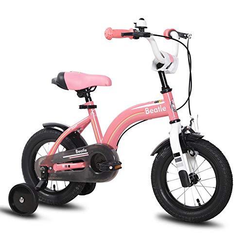 XiangYu Kinderfahrrad, Magnesiumlegierung Material, Doppelscheiben Bremssystem, Einstellbarer Lenker und Sattel + Rutschfestes Hilfsrad Pink-16inch