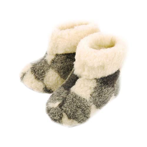 DF-SOFT Winter Pantoffeln aus Schafwolle Wärme Schlappen Hüttenschuhe Gemütlich Kuschelig Gefüttert Warm Hausschuhe Pantoffeln Unisex für Erwachsen Modell 115, Beige Kariert, 38 EU