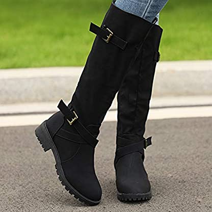 BANAA Womens Over The Knee Boots, Knee High Shoes Calf Biker Boots Ladies Zip Punk Shoes Combat Army Boots Plus Size Shoes Boots 6