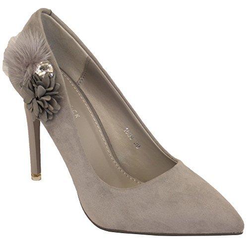 Pour Femmes Daim Talon Aiguille À Enfiler Femmes Chaussures Bout Pointu Collier De Fleurs New Gris - 1699