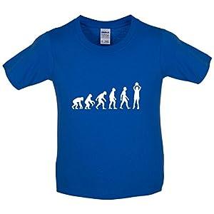 Kinder T-Shirt - Evolution of Man - Netball - 8 Farben - 3 bis 14 Jahre - Royalblau - XL (12-14 Jahre)