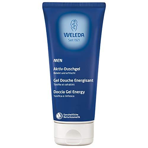 WELEDA Men Aktiv Duschgel, Naturkosmetik erfrischende, pflegende Reinigung Körper, Gesicht und Haut für Männer, Pflegedusche mit maskulinem Duft (1 x 200 ml) -
