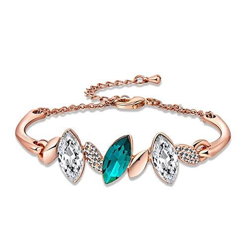 AnazoZ Vergoldet Damen Link Armbänder Rose Gold Giltter Studded CZ Olive Link Armband 1.4X4.4CM