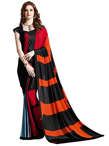 Vastrang Sarees Women's Crepe Silk Saree(VSHL7112B Black Orange & Red 5.5)