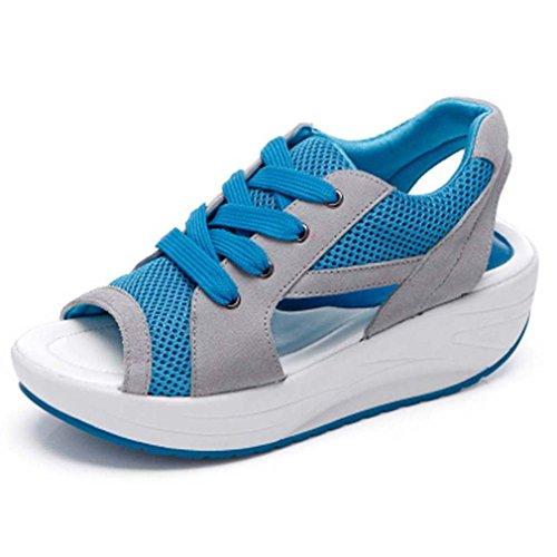 Solshine Damen Netz Atmungsaktiv Sandalen Turnschuhe Laufschuhe Offene Zehen Sneakers 37 EU / 4 UK / 6 US blau