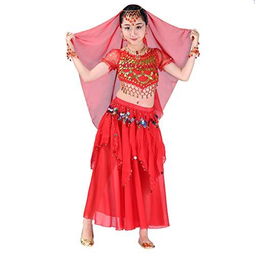LSAltd Handmade Dance Kostüme, Mode Kinder Mädchen Süße Perlen Quaste Crop Top + Sterne Pailletten Unregelmäßigen Rock Bauchtanz Set Ägypten Tanzen ()