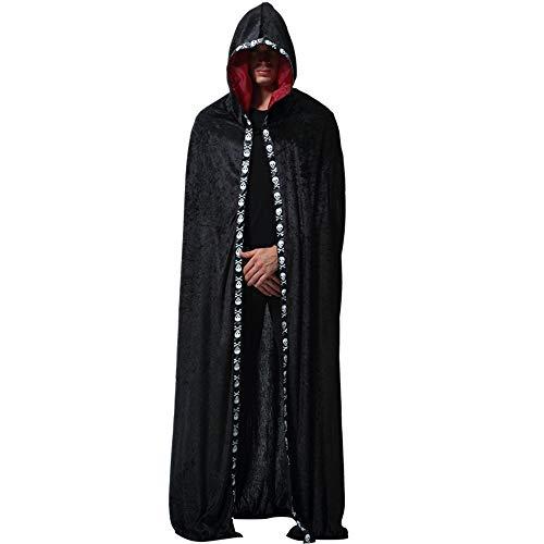 BaronHong Umhang mit Kapuze Kostüm Cape Ghost Master Cosplay Man (schwarz, M)