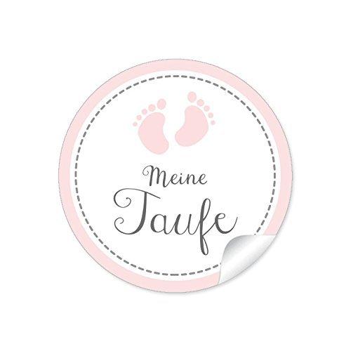 2er Set 2 Bögen a 24 STICKER: MEINE TAUFE 48 Etiketten Babyfüsschen Mädchen ROSA • Gastgeschenke Tischdeko Taufe Danksagungen • Format 4 cm, rund, matt
