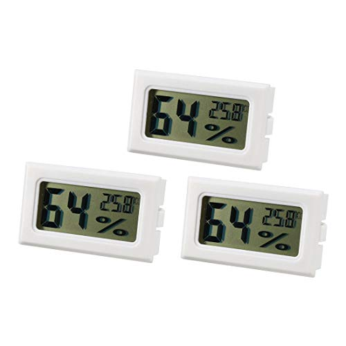 Meter Thermometer (sourcing map 3Stk. Weiß Digital Temperature Feuchtigkeit Meter Gauge Thermometer Hygrometer)