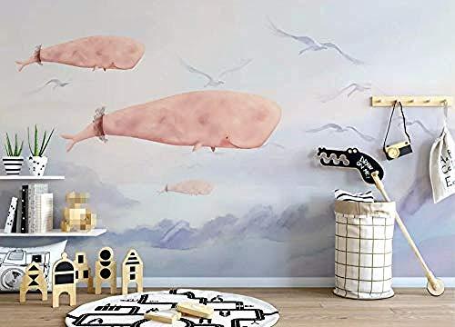 tapete Fototapeten,Premium-Vliestapete Wandbild,3D-Relief Hintergrundbild, Papiertapeten-Vliestapete Wandaufkleber Handgemalte Pink Whale Sky Seaside Wohnzimmer Schlafzimmer TV Hintergrund Wanddekora