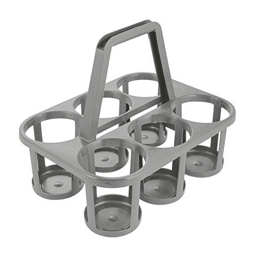 ok Porte-Bouteilles, Transport jusqu'à 6 Bouteilles, Plastique Robuste (PP), 34 x 26 x 28 cm, Gris Granit