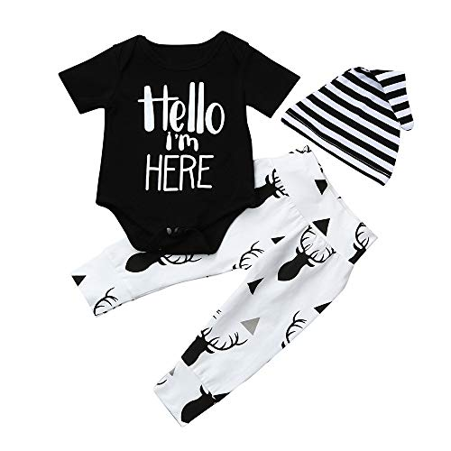 CHshe Ensemble Sport Pyjama,Hello I Am Here Garçon Fille Top Manches Longues+ Pantalon+Chapeau 3Pcs Ensemble Costume 3-18 Mois (12 Mois, Black)