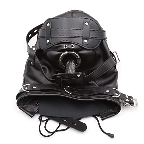 BDSM Spielzeug Leder Bondage Fetisch Maske Haube Abschließbare Blindfold & Dildo Penis Mund Gag Kopf Kapuze mit 2 Nasenloch,Black,Longdildo - Extreme Haube